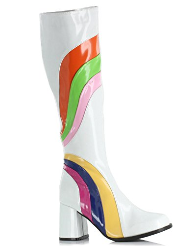3 Inch Sexy Knee High Go Go Boots Swirl White Costume Boots