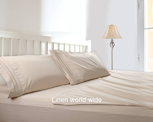 Bed Sheets Bedding Set By HCS Hotels Collection 2100 (New Edition),both Side Brushed,super Soft,hypoallergenic & Wrinkle Free 4 Pieces Set (Full/Double, Beige) (Hotel Collection Full Sheet Set compare prices)