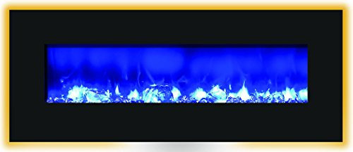 "Amantii Wmbi Series Black Glass Electric Fireplace 48"" Wide, 13 Backlight Colors, 3 Flame Colors Aiwmbifi485823Blkgls"