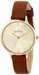 Skagen End-of-Season Anita Analog Gold Dial Womens Watch - SKW2147