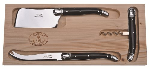 Jean Dubost 3-Piece Wine and Cheese Set with Cleaver/Cheese Knife/Corkscrew