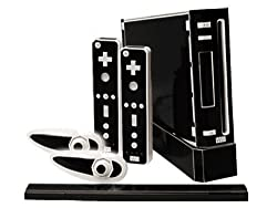 Nintendo Wii Skin New Matte Black System Skins Faceplate Decal Mod