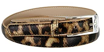 "Solid Color Leather Adjustable Skinny Belt Small (27""-31"") Leopard"
