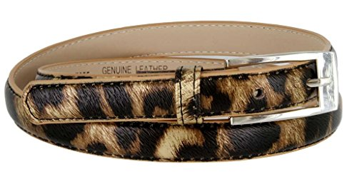 "Solid Color Leather Adjustable Skinny Belt X-Large (39""-43"") Leopard"