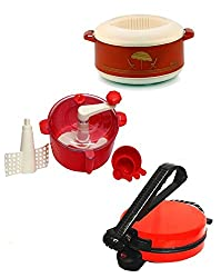 GTC COMBO OF EAGLE RED ROTI MAKER, CASSEROLE AND DOUGH MAKER