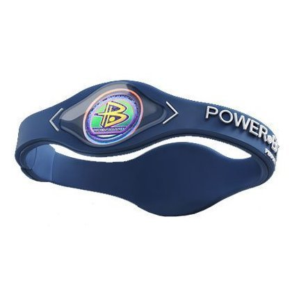 Power Balance Bracelet Navy Blue/ White Letters Size Small