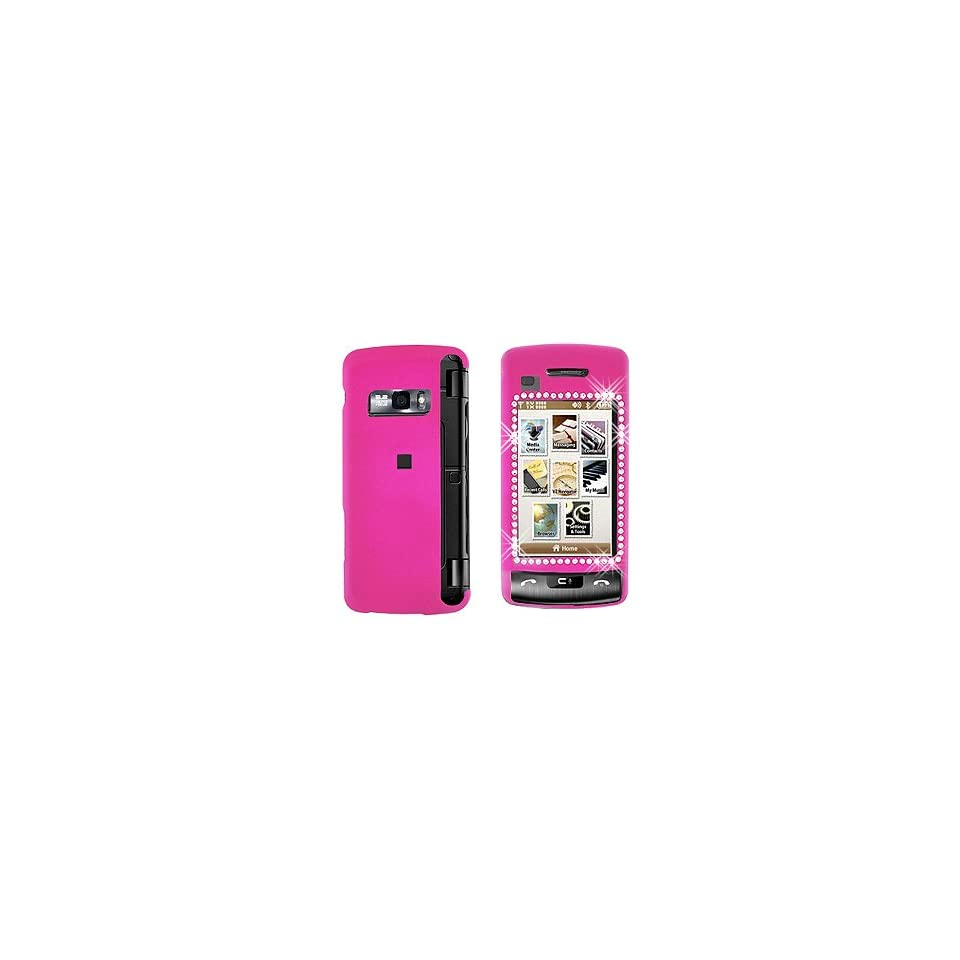 Premium   LG VX11000/enV Touch Diamond Rubber Hot Pink Cover   Faceplate   Case   Snap On   Perfect Fit Guaranteed