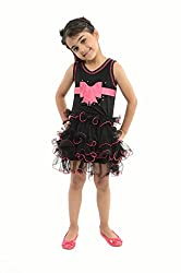 Stylemykidz Baby Girl's Net Round Neck Dress (Midnight Beauty, Black, 3-4 Years)