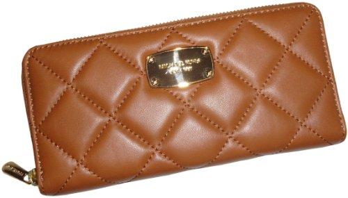 Women'S Michael Kors Hamilton Quilt Continental Leather Zip Around Wallet Walnut