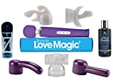 "Love Magic Wand Extreme Valentines Bundle Multipurpose Original Therapeutic Massager USB Purple - Hitachi Style 20 Speed Patterns, Quiet Vibrations-steady & Pulsating, Silicone Massage Head, Flexible Neck, Maximum Pleasure -13"" Length - Strong Motor for Neck & Shoulder PLUS Aqua Z Lube, Fifty Shades of Grey Massage Oil, and 5 Attachment Kit for Him and Her, Women, Men and Couples & 100% NO Questions, NO Hassle Guarantee for 90 Days!"