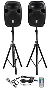 """Rockville Power GIG RPG-122K All In One DJ/PA Package (2) 12"""" DJ/PA Speakers 1000 Watts Peak Power/250 Watts RMS with Built in Bluetooth, USB/SD Player, FM Tuner, Digital MP3 Recorder, Speaker Stands and a Wired Microphone"""
