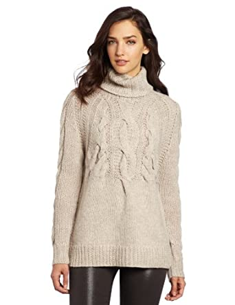 Halston Heritage Women's Long Sleeve Cable Rib Turtleneck Sweater, Natural, X-Small