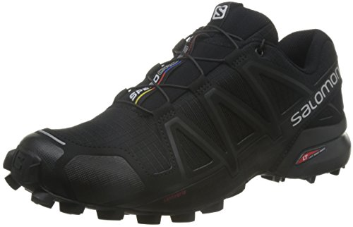 Salomon Men's Speedcross 4 Trail Runner, Black/Black/Black Metallic, 10.5 D US (Speedcross 3 compare prices)
