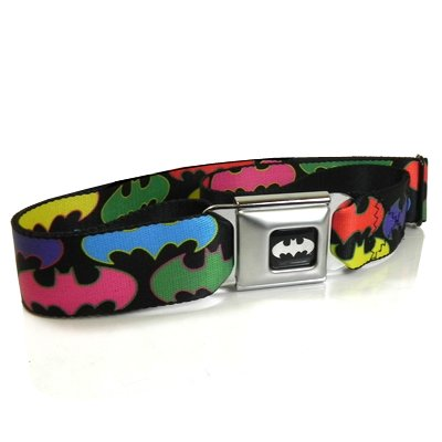 Batman Multi-Color Logo Seatbelt Buckle Black Strap Belt, Official Licensed