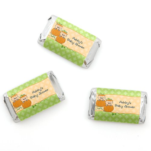 Twin Little Pumpkins Caucasian - Personalized Baby Shower Mini Candy Bar Wrapper Favors - 20 Ct front-802195