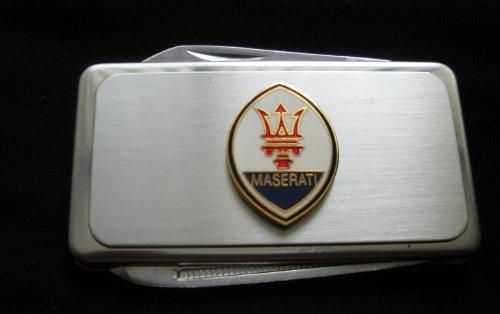 Maserati Silver Stainless Steel Money Clip With Knife & Nailfile In Body Of Clip