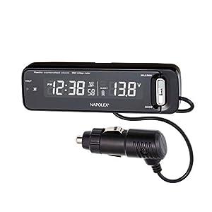 ナポレックス 車用 電波時計 + 電圧計 ボルテージメータークロック ブラック 電圧異常警報機能 バックライト付 Fizz-1027