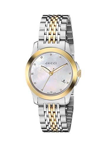 Gucci Women's YA126513 G-Timeless Stainless Steel Watch with Yellow-Gold PVD Links