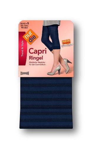 Nur Die Damen Legging, gestreift 711691/Capri Ringel, Gr. 38/40 (S), Weiß (weiß 030)