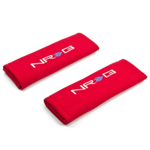 Nrg Sbp-6Rd Red Racing Seat Belt Harness Foam Shoulder Pads Set Of 2