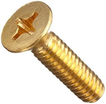 Brass Machine Screw, Flat Head, Phillips Drive