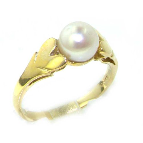 9K Yellow Gold Womens Lustrous Pearl Ring with Heart Shoulders - Size 12 - Finger Sizes 5 to 12 Available - Suitable as an Anniversary ring, Engagement ring, Eternity ring, or Promise ring