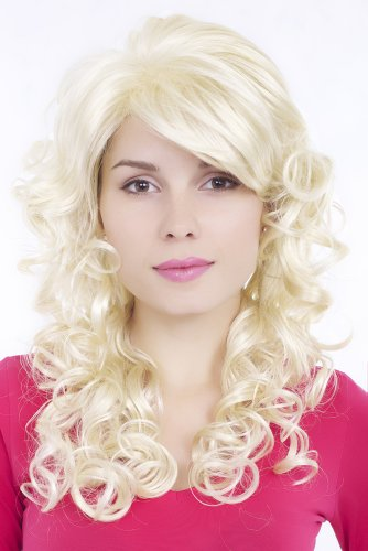 GLAMOUROUS Quality Lady Wig Diva LONG backcombed curly curls WHITE-BLOND platinum BLOND voluminous DRAG QUEEN GFW806-613 55 cm