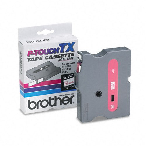 Brother P-Touch Products - Brother P-Touch - TX Tape Cartridge for PT-8000, PT-PC, PT-30/35, 1/2w, Red on White - Sold As 1 Each - Ideal for high-production label making, with fewer re-supply situations. - Perfect for indoor and outdoor use on smooth, fla