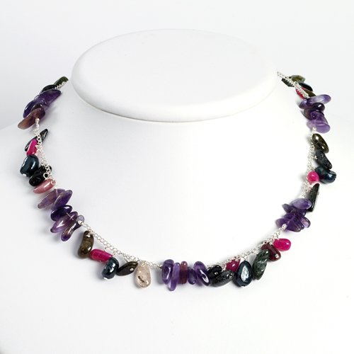 Sterling Silver Amethyst/Tourmaline/Strwbrry Qtz/Grn Cult Pearl Necklace