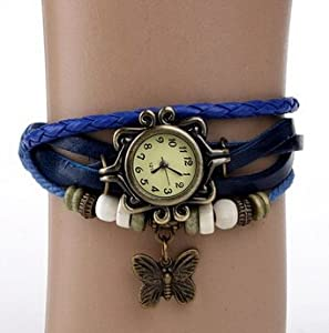 OGYA High Quality Wholesale Lot of 5pcs Womens Girls Butterfly Bracelet Leather Strap Wrist Watches - One Watch Color Blue