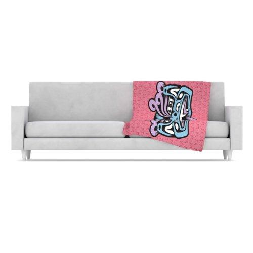 Kess Inhouse Louie Gong Blue Fu Dog Fleece Throw Blanket, 40 By 30-Inch