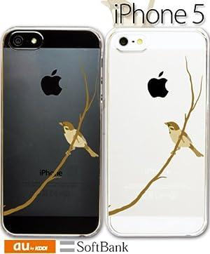 iPhone5デザインケース【和風・和柄/雀・すずめ・クリア・ポリカ 】