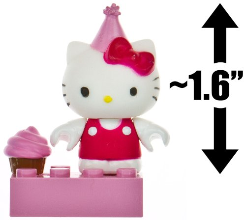 "Hello Kitty w/ a Party Hat & a Cupcake ~1.6"" Mini-Figure: The World of Hello Kitty Mega Bloks Figure Series [08] - 1"