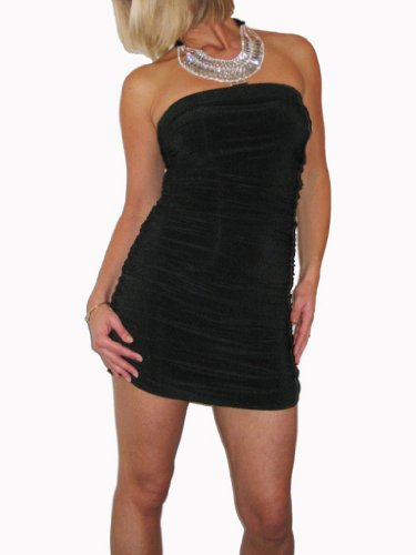 ICE Sexy Bandeau Diamonte Ruched Mini Dress Black 6-12 Black