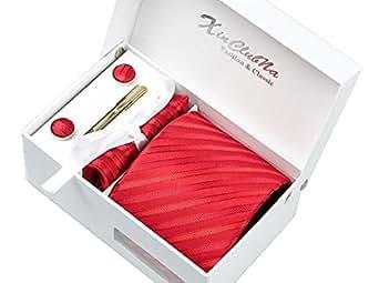 Rayures Rouges Ensemble Cravate d'homme , Mouchoir , épingle et boutons de manchette coffret cadeau