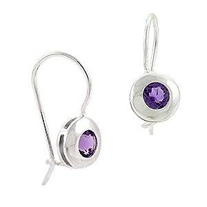 Sterling Silver Bezel Set Genuine Amethyst Stone Round Fish Hook Earrings