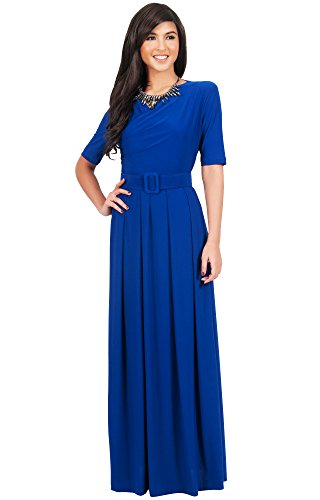 KOH KOH Plus Size Womens Long Half Sleeve Elegant Evening Long Maxi Dress with Belt Maxi Dress, Color Cobalt / Royal Blue, Size 3X Large / 3XL / 22-24 (Cobalt Blue Bridesmaid Dresses compare prices)