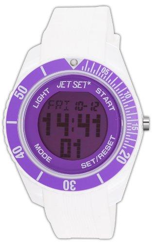 Jet Set J93491-16 - Reloj digital de cuarzo unisex con correa de caucho, color blanco