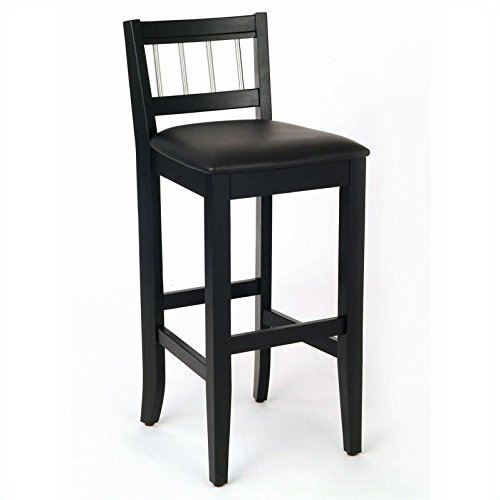 Home Styles 5123-89 Manhattan Pub Stools with Stainless Steel Accents, Black Finish, 31-Inch Seat Height