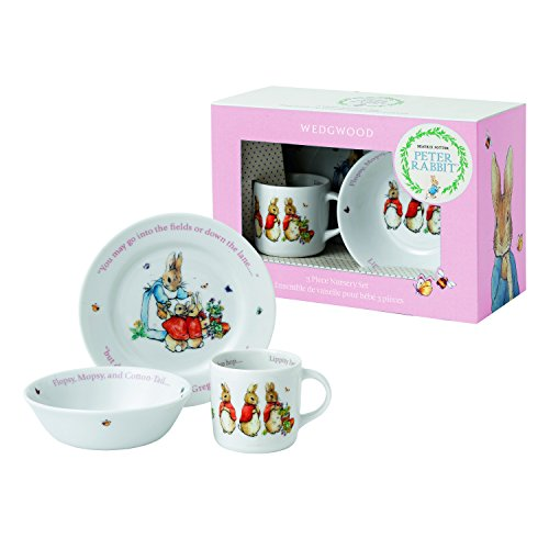 Wedgwood Girl's Peter Rabbit 3-Piece Plate, Bowl and Mug Set, White and Pink (Baby Porcelain Dish Set compare prices)