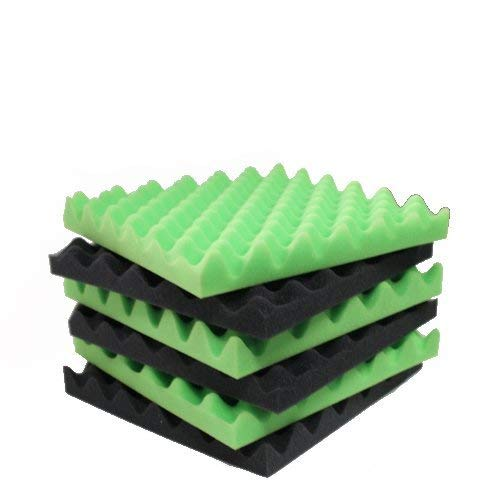 6 Pack Green/Charcoal egg crate foam acoustic foam tiles soundproofing foam panels sound insulation soundproof foam padding sound dampening Studio sou