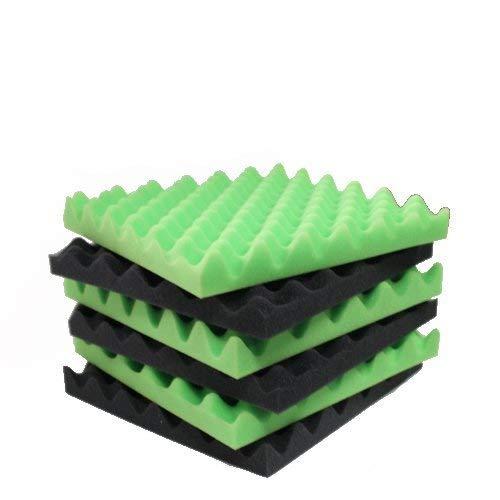 6 Pack Green/Charcoal egg crate foam acoustic foam tiles soundproofing foam panels sound insulation soundproof foam padding sound dampening Studio sou