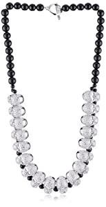 """nOir Jewelry """"Pirates of the Caribbean"""" Pave Skull and Pearl Bib Collar Necklace"""