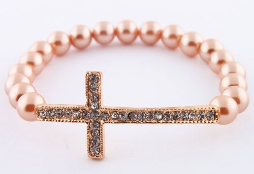 Champagne Pearl Stones Bracelet with a Gold Iced Out Cross Shamballah