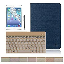 iPad Air 2 Keyboard Case,Dingrich PU Leather Slim Smart Flip Case Cover With Auto Sleep/Wake Feature+Separate 7 Backlight Color Bluetooth Keyboard+Free Screen Protector&Stylus for iPad Air 2