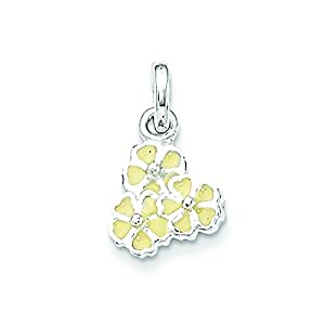 Sterling Silver Yellow Enamel Flower Kid's Pendant