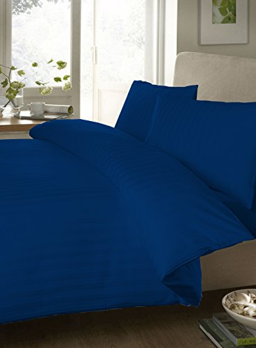 """Egyptian Cotton Fitted Sheet With 28"""" Deep Pocket 800 Thread Count Stripe ( Queen , Royal Blue ) By Bedding Spa front-484397"""