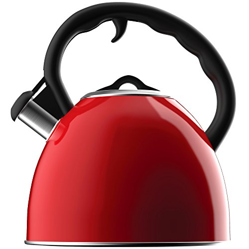 Vremi Whistling Tea Kettle - Red 2 Quart Modern Dome Teapot for Kitchen Stove Top - Decorative 8 Cup Stainless Steel Tea Pot with Fast Boil and Steam Whistle for Gas or Electric Stovetop (Butterfly Glass Teapot compare prices)