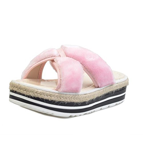 JIAJIA Mirino a flip flop Pantofole donna tacco alto Sandali e pantofole muffin inferiore 2 3 4 5 6 7 8 9 10 11 12 35 36 37 38 39 40 , pink , 39