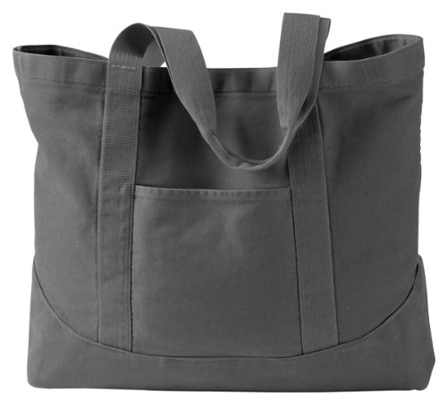 Authentic Pigment Large Canvas Tote bag, smoke, One Size